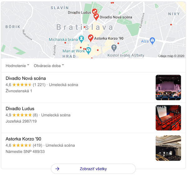 divadlo maps SERP