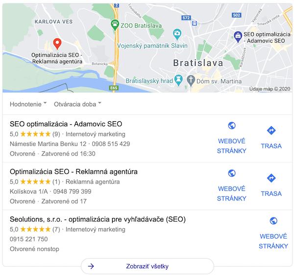 google maps SERP widget
